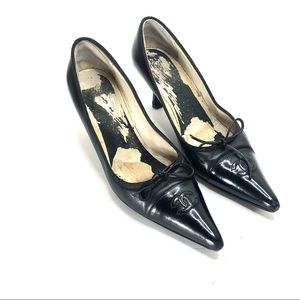 Chanel patient leather logo heels size 40.5